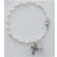 3mm 6.5 in. Pearl Bracelet w/SS Celtic Cross & Mirac. Medal