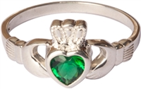 Women's Claddagh Ring with Emerald Stone