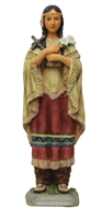 St. Kateri Tekakwitha Statue, hand-painted in full color, 8""