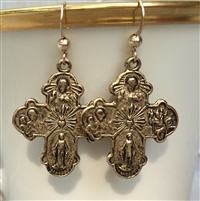 Earrings - 4-way Cross, Gold