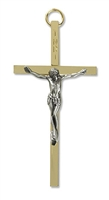 "4"" Brass Crucifix with Pewter Corpus"