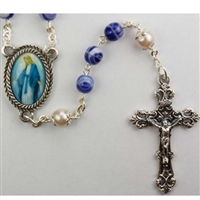 6MM BLUE/PEARL ROSARY