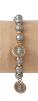Saint Benedict Bracelet with Medal Dangles, Silver