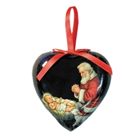 "3.5"" Adoring Santa Heart-Shaped Decoupage Ornament"