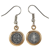 St. Benedict Medal Earrings, Hypoallergenic Wire