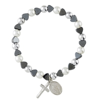 Hematite Heart with Pearl Miraculous Stretch Bracelet