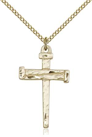 0013GF/18GF <br/>Gold Filled Nail Cross Pendant