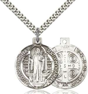 0027BSS/24S <br/>Sterling Silver St. Benedict Pendant