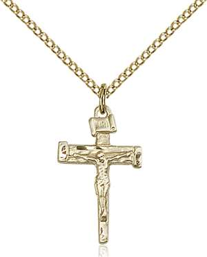 0072GF/18GF <br/>Gold Filled Nail Crucifix Pendant