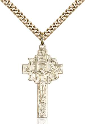 0099GF/24G <br/>Gold Filled Crucifix-IHS Pendant