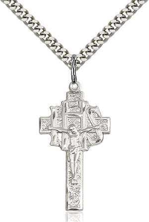 0099SS/24S <br/>Sterling Silver Crucifix-IHS Pendant