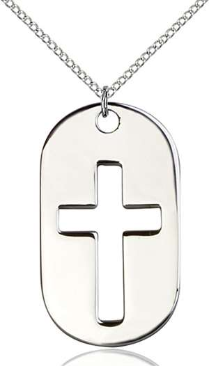 0110DTSS/18SS <br/>Sterling Silver Cross Dog Tag Pendant