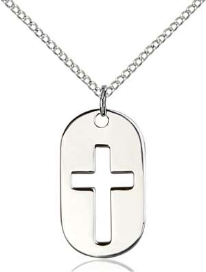 0111DTSS/18SS <br/>Sterling Silver Cross Dog Tag Pendant
