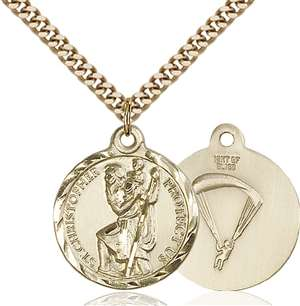 0192GF7/24G <br/>Gold Filled St. Christopher / Paratrooper Pendant