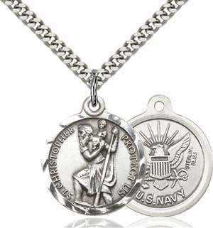 0192SS6/24S <br/>Sterling Silver St. Christopher Pendant