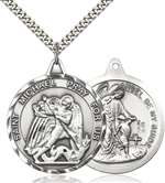 0201RSS/24S <br/>Sterling Silver St. Michael the Archangel Pendant