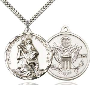 0203SS2/24S <br/>Sterling Silver St. Christopher Pendant