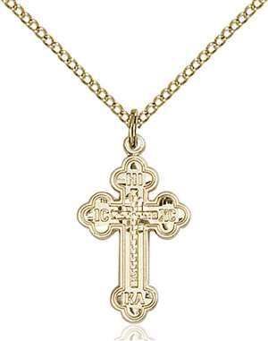 0272GF/18GF <br/>Gold Filled Russian Cross Pendant