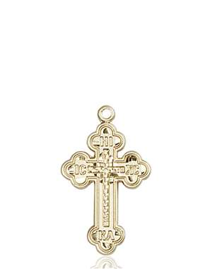 0272KT <br/>14kt Gold Russian Cross Medal