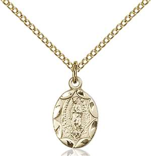 0301FGF/18GF <br/>Gold Filled O/L of Guadalupe Pendant