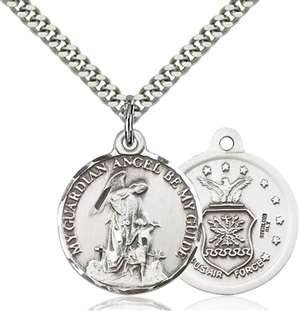 0341SS1/24S <br/>Sterling Silver Guardian Angel / Air Force Pendant
