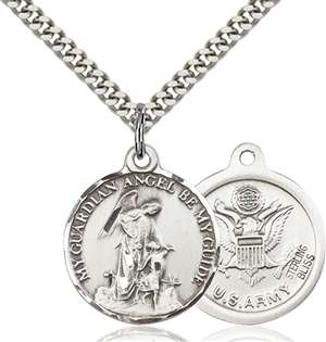 0341SS2/24S <br/>Sterling Silver Guardian Angel / Army Pendant