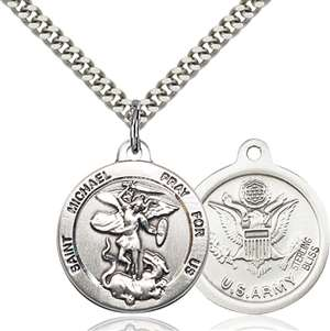 0342SS2/24S <br/>Sterling Silver St. Michael the Archangel Pendant