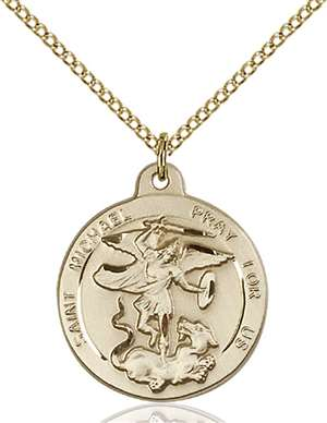 0343GF/18GF <br/>Gold Filled St. Michael the Archangel Pendant