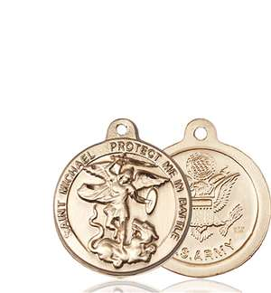 0344KT2 <br/>14kt Gold St. Michael the Archangel Medal