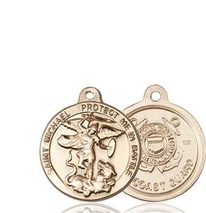 0344KT3 <br/>14kt Gold St. Michael the Archangel Medal