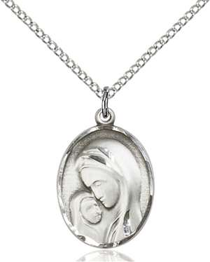 0447SS/18SS <br/>Sterling Silver Madonna & Child Pendant