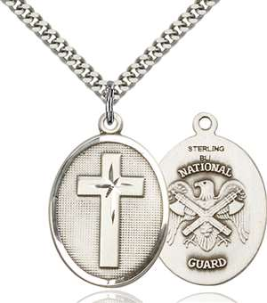 0783SS5/24S <br/>Sterling Silver Cross / National Guard Pendant