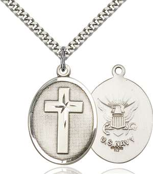 0783SS6/24S <br/>Sterling Silver Cross / Navy Pendant