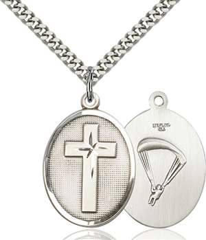 0783SS7/24S <br/>Sterling Silver Cross / Paratrooper Pendant