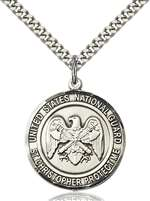 1182SS5/24S <br/>Sterling Silver NAT'L GUARD/ST. CHRISTOPHER Pendant