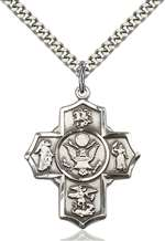 5790SS2/24S <br/>Sterling Silver 5-Way / Army Pendant