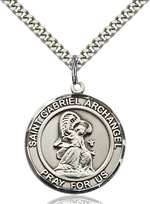 St. Gabriel the Archangel Medal<br/>7039 Round, Sterling Silver