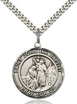 St. John the Baptist Medal<br/>7054 Round, Sterling Silver