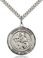St. Matthew the Apostle Medal<br/>7074 Round, Sterling Silver