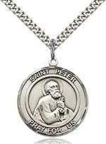St. Peter the Apostle Medal<br/>7090 Round, Sterling Silver