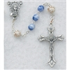 6MM BLUE & PEARL CAPPED ROSARY