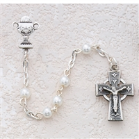 5MM WHITE CELTIC COMMUNION ROSARY