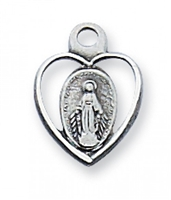 "Sterling Silver Miraculous Medal 16"" Chain & Box"
