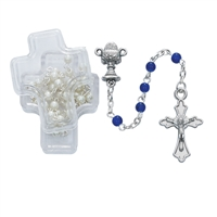 BLUE COMMUNION ROSARY, 4MM