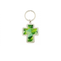 Mosaic Cross Key Chain , Green