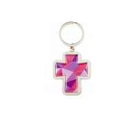 Mosaic Cross Key Chain , Red