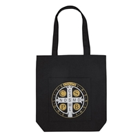 St. Benedict Tote Bag with Pocket, Black Canvas