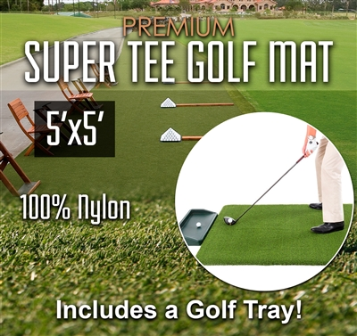 Super Tee Golf Mat with Tray - 5 feet x 5 feet