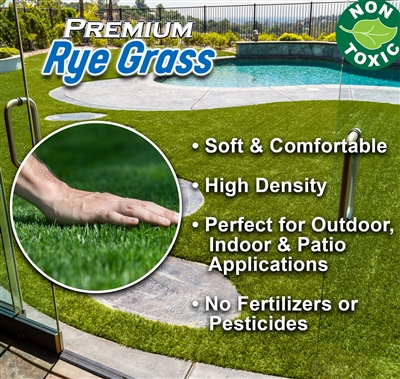 Premium Rye Grass Synthetic Landscape Turf - 7 feet x 12 feet