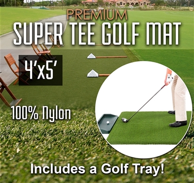 Premium Super Tee Golf Mat with Tray - 4 feet x 5 feet